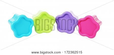 Floral Shape Plastic Containers Lying on White Background