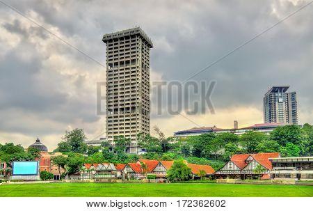 Royal Selangor Club and Police Headquarters Tower on Dataran Merdeka Square in Kuala Lumpur, Malaysia