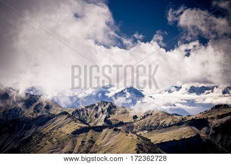 landscape in the austrian alps near mellau
