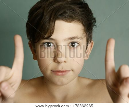 Teenager Boy Squinting Close Up Portrait