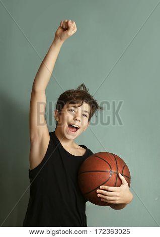 Teeb Boy With Basketball Ball Score Goal Gesture