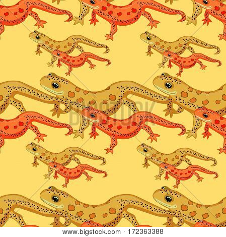 Seamless Pattern Triton East American Red Spotted Salamanders Smiling  Vector Illustration