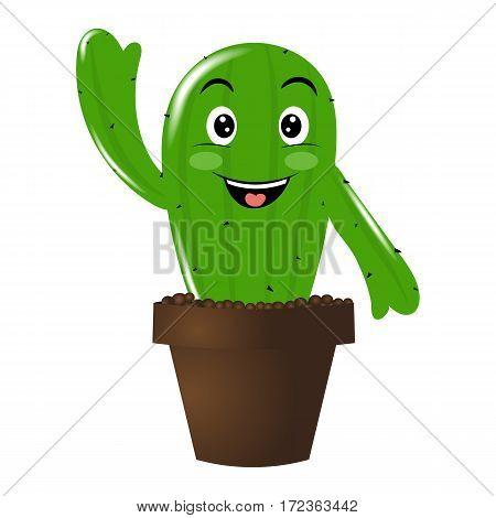 Cute cactus . Cartoon . Vector illustration.Plant flower emotions.