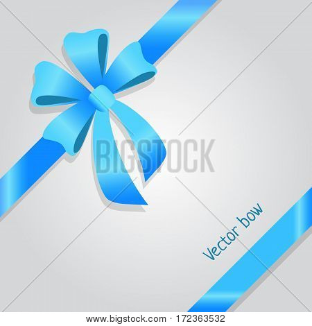 Vector Bow. Shiny wide blue ribbons. Satin line. Tied bob. Colourful bow with four petals and two long tails. Bright decoration for gifts, presents, boxes. Simple cartoon design. Flat style. Vector