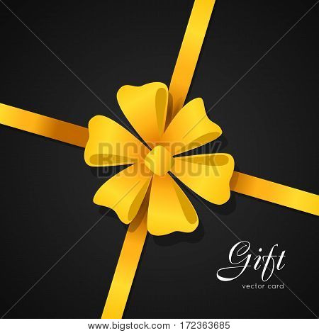 Gift vector card. Big yellow bow with six petals in center of picture. Gift. Bright narrow long ribbon. Simple cartoon style. Front view. Cute decoration for holiday. Flat design. Anniversary concept