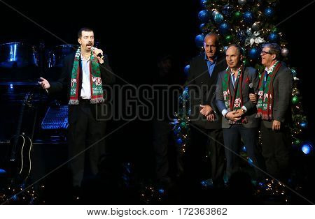 BROOKLYN, NY-DEC 9: DJ Dave Stewart (L) onstage at WCBS-FM 101.1's Holiday in Brooklyn at Barclays Center on December 9, 2016 in Brooklyn, New York.
