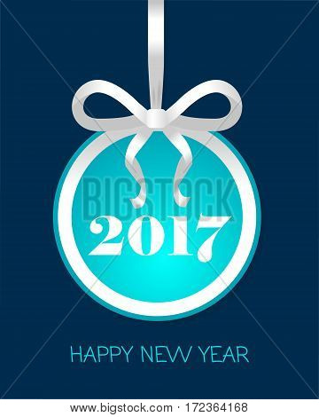 Happy New Year 2017 round banner with white ribbon and thin bow. Toy with light blue center. Christmas tree decoration. Bright bow with two narrow petals. Simple cartoon design. Front view. Vector.