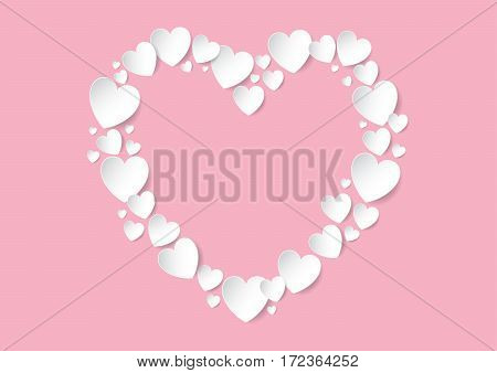 Valentines Day Heart flat lay with white vector paper hearts on pink background. Love concept.