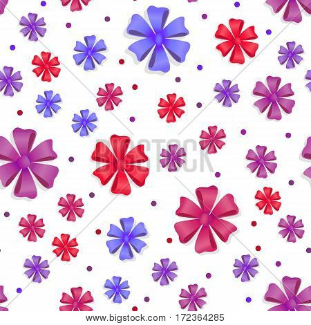 Flower bows seamless pattern. Pussy bright bow knots isolated on white. Gift knot of ribbons endless texture. Overwhelming bow without ends decorative element. Flat style, Vector cassical bows