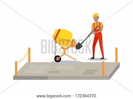 Pouring concrete man isolated on white. Modern Building. Process of Pouring Concrete. Vector poster construction and concreting, concrete mixer. Architecture poster for landing page design