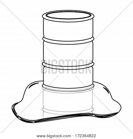 monochrome contour with barrel oil spilled vector illustration