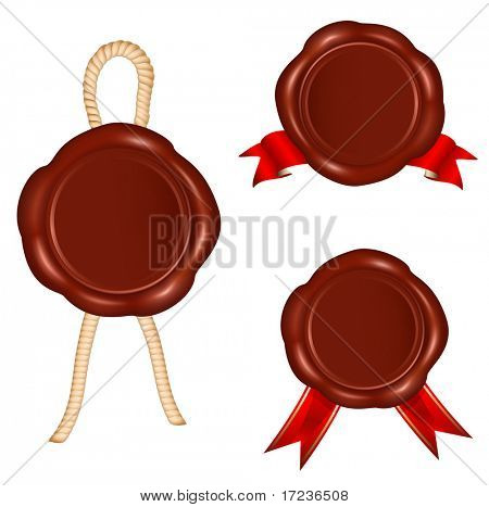 Vector. Wax seals with rope and red ribbons.