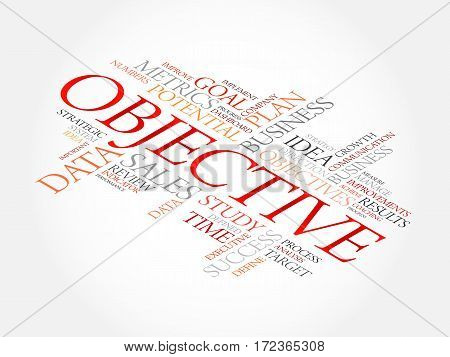 Objective word cloud collage, business concept background