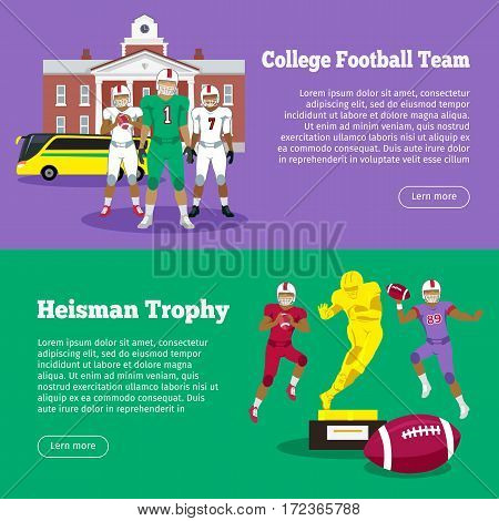 Colleage football team, Heisman Memorial Trophy web banners set. High school on background. Heisman trophy and american football players. Sport team game. Cartoon icons of football players. Vector