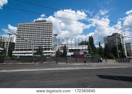 Chisinau, Moldova, circa august 2016: Old buildings in Chisinau, capital city of Moldova