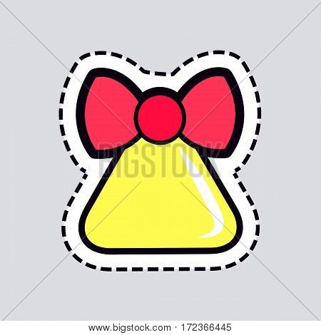 Christmas big yellow bell with red ribbon patch. Cut out of paper. Red bow on top. Bell in triangular shape. Round brinks beneath xmas ringer. Front view. Simple cartoon design. Flat style. Vector