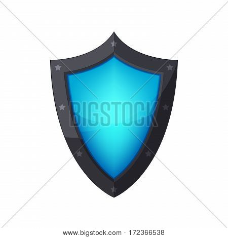 Glossy shield icon. Shield with stars isolated on white background. Vector illustration.
