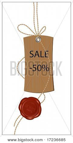 Vector illustration. Blank tag tied with brown string and wax sealing.