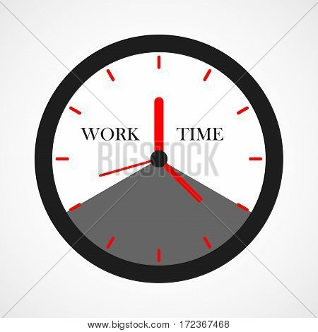 Clock icon in flat design. Vector illustration. Black clock with white sector of the work time isolated on light background.