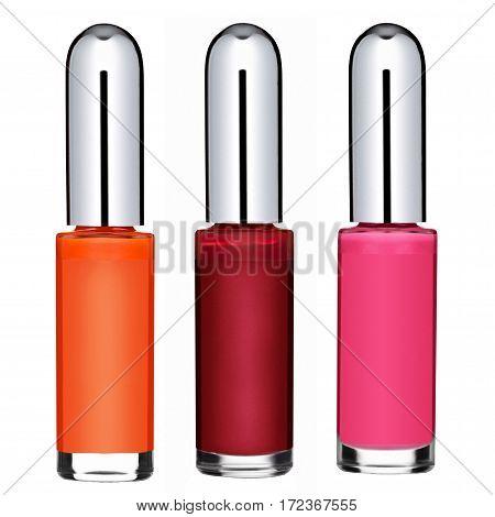 colored nail polish, isolated on white background