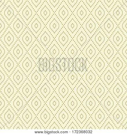 Geometric dotted vector golden pattern. Seamless abstract modern texture for wallpapers and backgrounds