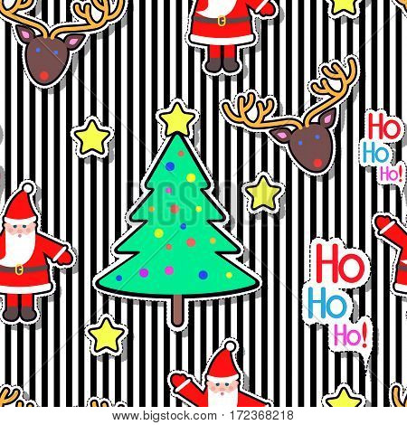 Santa Clause, deer, tree decorated with ball and star seamless pattern on striped background. Christmas elements in cartoon style. New Year. Wallpaper design endless texture. Fabric textile. Vector