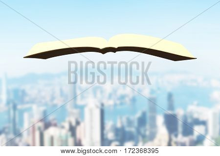 One book flying over urban buildings background.