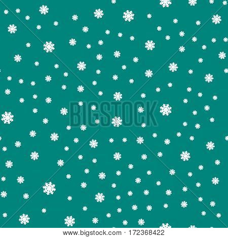Seamless pattern snowflakes on dark green background. Endless texture in New Year, Christmas concept. Winter Xmas theme. Realistic pattern with snowflakes, snow. Fabric textile, print material. Vector
