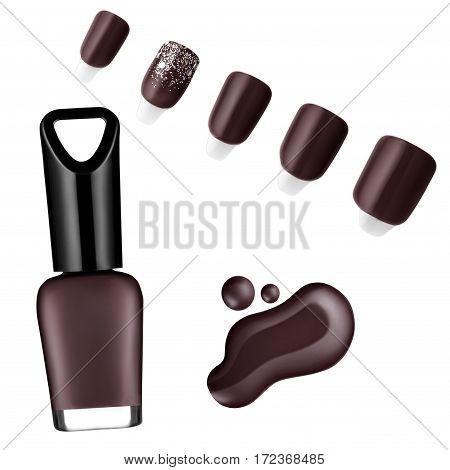 chocolate color nail polish, brush, sample, isolated on white background