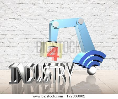 Industry 4.0 concept. 3D robot arm with wifi sign and text of industry 4.0.