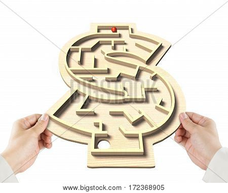 Playing Maze Ball Game In Money Shape Box