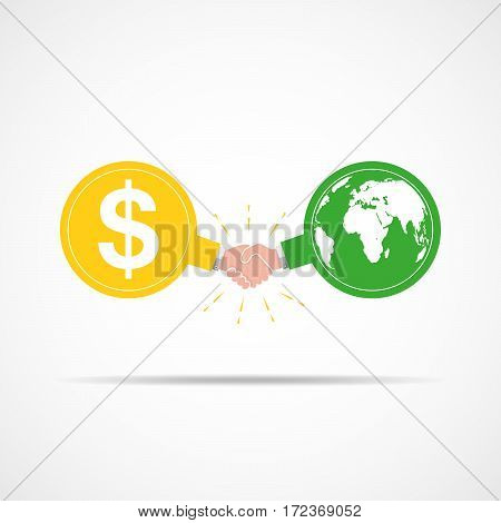 Symbol of handshake between dollar signs and globe map. Vector illustration. The concept of a contract or agreement.