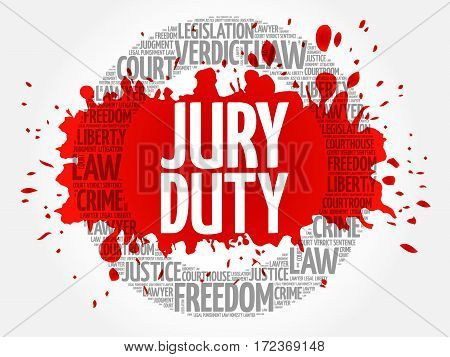 Jury Duty word cloud collage, social concept background
