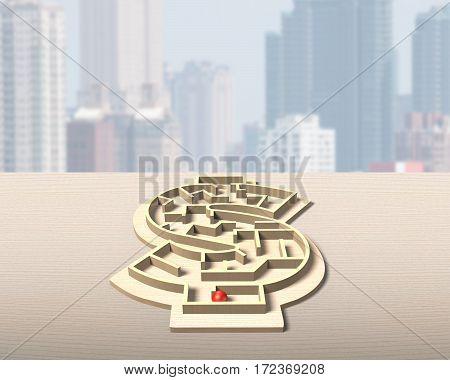 Maze Ball Game In Money Shape Box