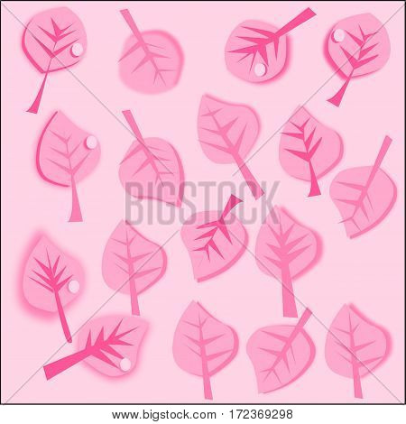 abstract pink background with pink leaves pink stroke and pink veins and a drop of dew scattered around the figure