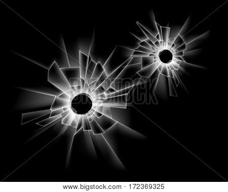 Vector Set of Transparent Broken Glass Window with two Bullet Holes Close up Isolated on Dark Black Background