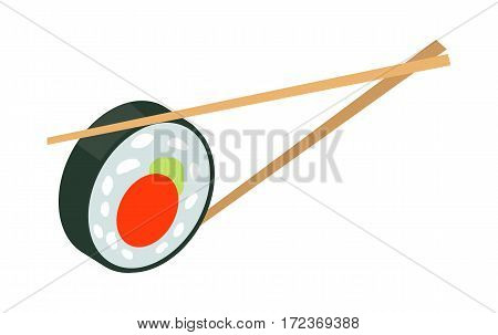 Sushi japan with two sticks isolated. Sushi logo flat style design. Restaurant japanese, asian food, rice and seafood, fish sushi, asia dinner, fresh sushi and chopstick, oriental lunch logo. Vector
