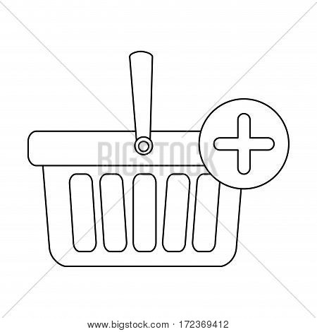 monochrome contour with shopping basket with one handle and plus sign vector illustration