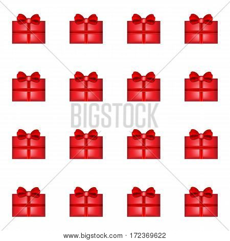 Red Gift seamless pattern with white background