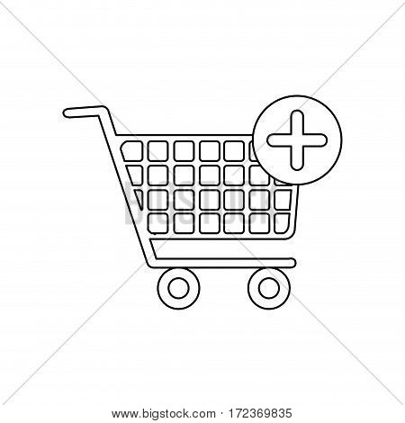 monochrome contour with shopping cart and plus sign vector illustration