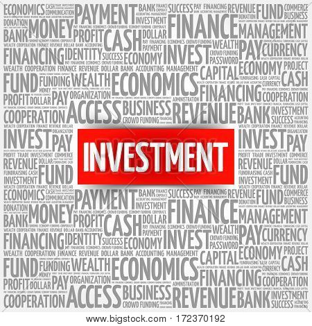 INVESTMENT word cloud collage, business concept background