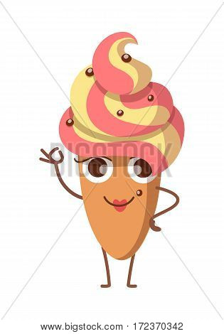 Sweets. Illustration of cake in oval shape with whipped cream. Yellow-pink topping and some confetti. Smiling baked bun with one raised and on hand on waist. Cartoon style. Flat design. Vector