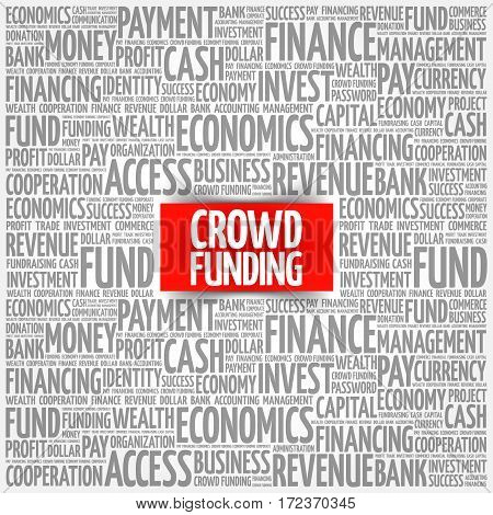 CROWD FUNDING word cloud collage, business concept background