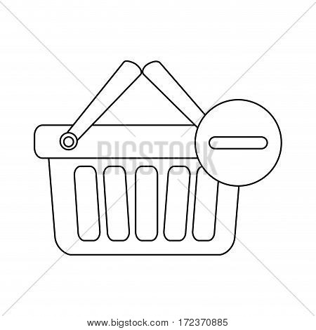 monochrome contour with shopping basket with two handle and minus sign vector illustration