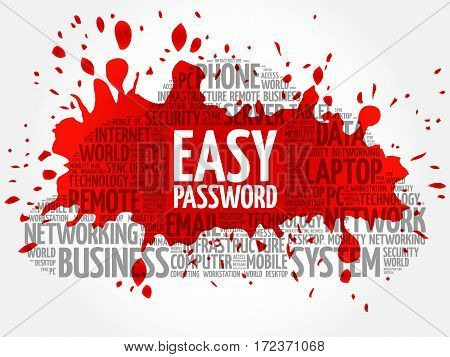 Easy Password word cloud collage, technology business concept background
