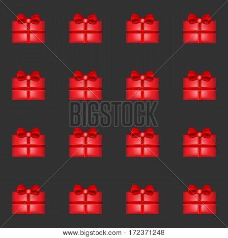 Red Gift seamless pattern with black background