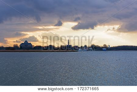 Spectacular sky over Lake Veere in the Zeeland province of the Netherlands