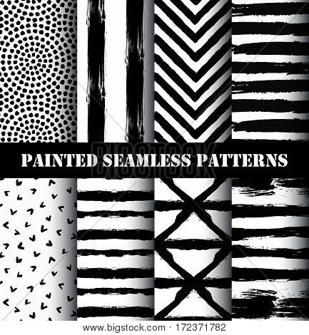 Painted Patterns. Grunge brush strokes stripes, chevron, round ornament. Distress texture backgrounds. Hand drawn black white textured design elements. Grungy scratch effect painting wallpapers vector