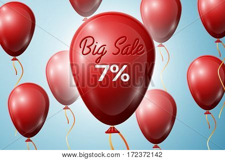 Red Balloons with an inscription Big Sale seven percent Discounts. SALE concept for shops store market, web and other commerce. Vector illustration.
