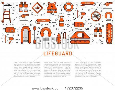 Lifeguard flat outline icons set with with equipment and rescue equipment for the rescue of drowning. Water rescue symbols isolated vector illustration